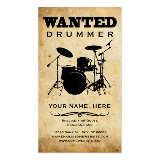 Wanted drummer business card templates zazzle for Drummer business cards