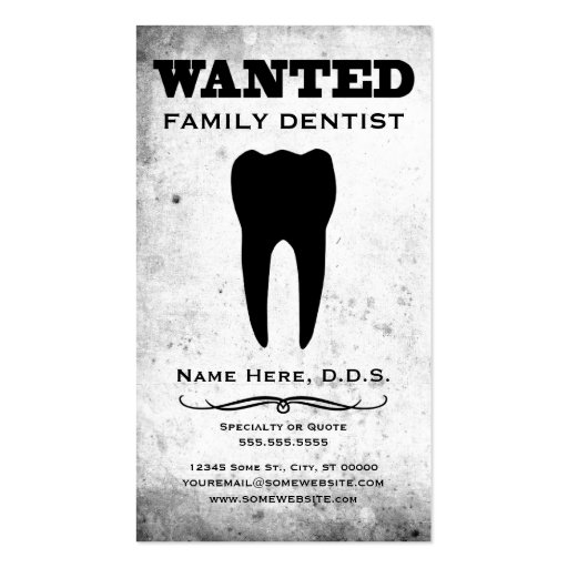 wanted : family dentist business card template