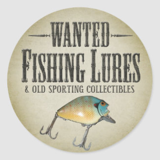 WANTED: Fishing Lures Classic Round Sticker