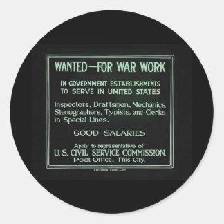 Wanted for War Work Vintage World War I Classic Round Sticker
