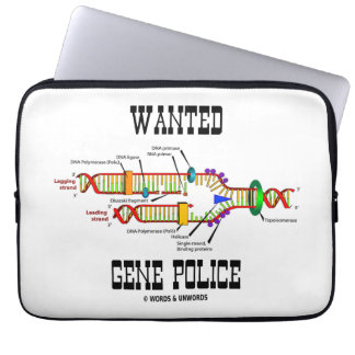 Wanted Gene Police DNA Replication Humor Laptop Sleeves
