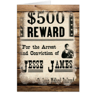 Wanted Jesse James Card