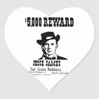 Wanted Jesse James Heart Sticker