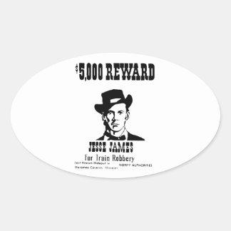 Wanted Jesse James Oval Sticker