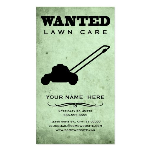 wanted : lawn care business card template