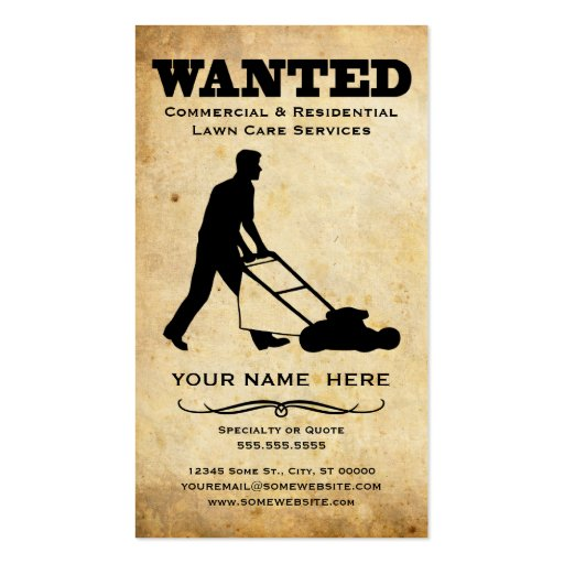 wanted : lawn care services business card template