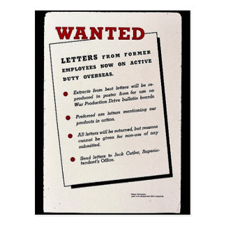 Wanted, Letters From Former Employees Now On Activ Postcard
