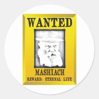 Wanted: Mashiach Round Sticker