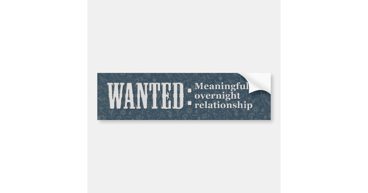 Wanted meaningful overnight relationship bumper sticker zazzle com