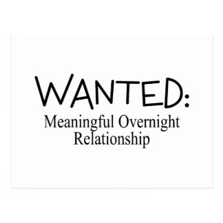 Wanted Meaningful Overnight Relationship Postcard