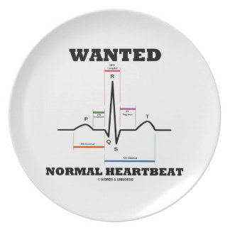 Wanted Normal Hearbeat (ECG/EKG Electrocardiogram) Party Plates