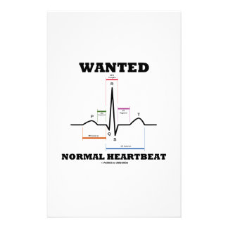 Wanted Normal Hearbeat (ECG/EKG Electrocardiogram) Stationery Design