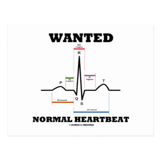 Wanted Normal Heartbeat (Electrocardiogram) Postcard