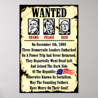 Wanted: Obama, Pelosi, Reid Poster