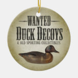 Wanted - Old Duck Decoys Double-Sided Ceramic Round Christmas Ornament