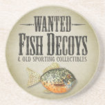 WANTED: Old Fish Decoys Drink Coaster