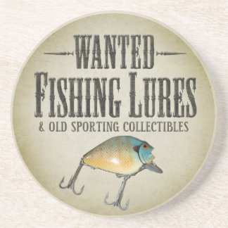 WANTED: Old Fishing Lures Beverage Coaster