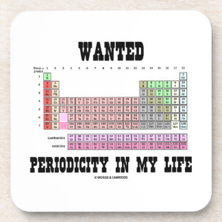 Wanted Periodicity In My Life (Periodic Table) Beverage Coaster