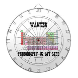 Wanted Periodicity In My Life (Periodic Table) Dartboard With Darts
