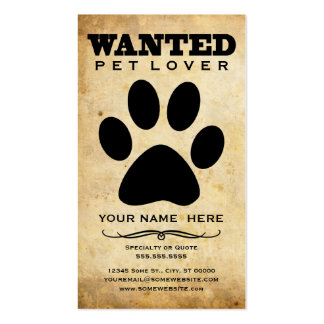 wanted : pet lover business card