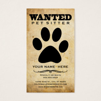 wanted : pet sitter business card