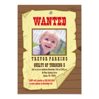 "Wanted photo poster cowboy birthday party invite 5"" x 7"" invitation card"