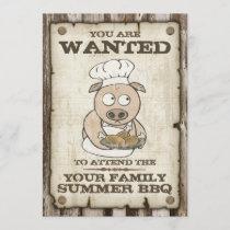 Wanted Pig BBQ Invitations