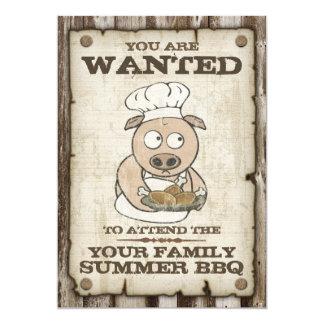 """Wanted Pig BBQ Invitations 5"""" X 7"""" Invitation Card"""