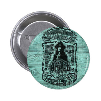 Wanted pirate poster on teal wood base. buttons