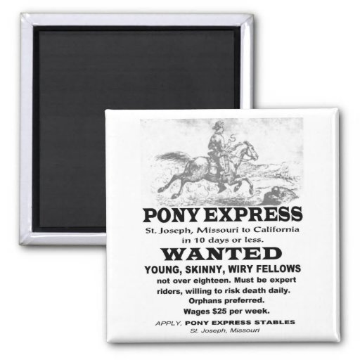 Wanted Pony Express Rider 2 Inch Square Magnet