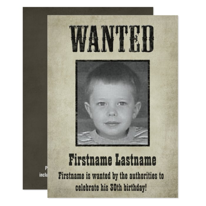 WANTED Poster - Birthday Invitation