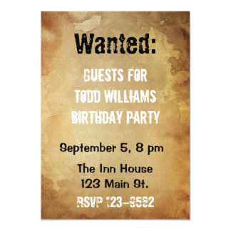 "Wanted Poster Birthday Invitation 5"" X 7"" Invitation Card"