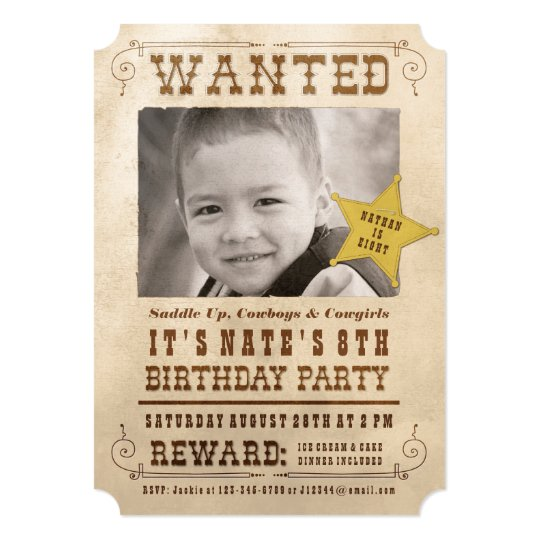Wanted Poster Cowboy Birthday Party Invitation – Wanted Invitation
