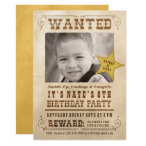 Wanted Poster Cowboy Western Birthday Party Card