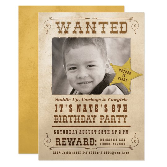 wanted poster cowboy western birthday party invitation. Black Bedroom Furniture Sets. Home Design Ideas