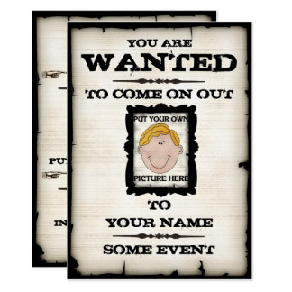 Wanted Poster Event Invitations