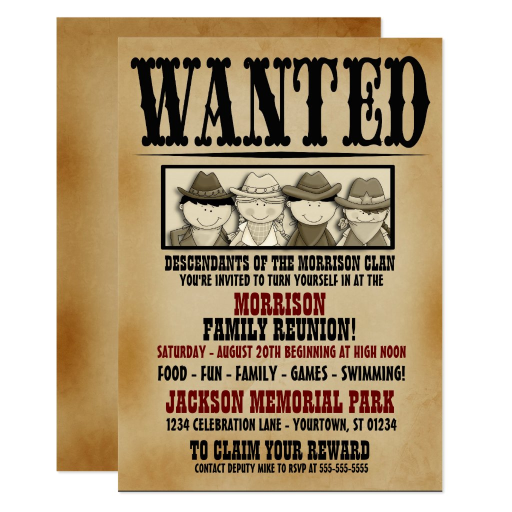 Wanted Poster Family Reunion Barbeque Invitation