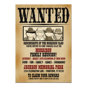 reflections06 Wanted Poster Family Reunion Barbeque Invitation