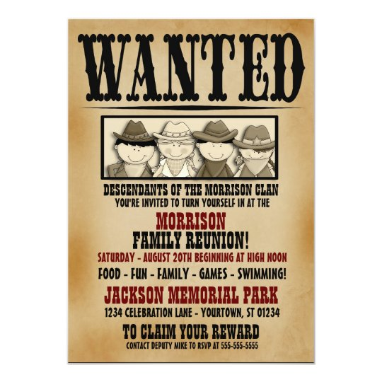 Wanted Poster Family Reunion Barbeque Invitation  Zazzle