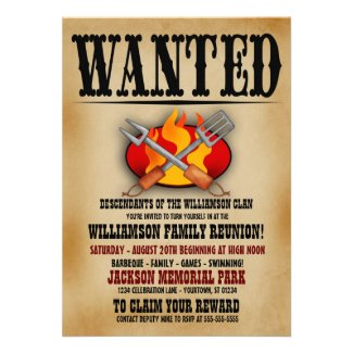 Wanted Poster Family Reunion Invitations