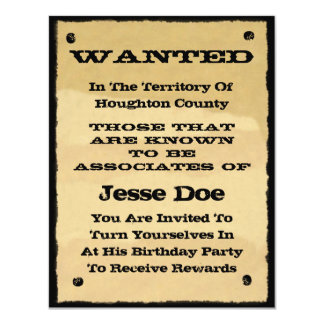 wanted poster invitations fun western cowboy party - Cowboy Party Invitations