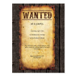 Wanted Poster Invitations Postcard