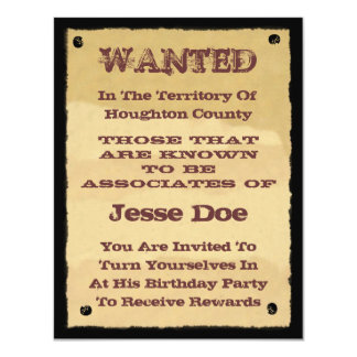 "Wanted Poster Invitations to Western Themed Party 4.25"" X 5.5"" Invitation Card"