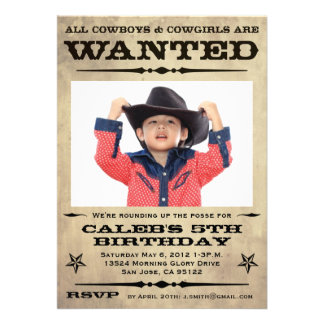 Wanted Poster Kids Party Invitations