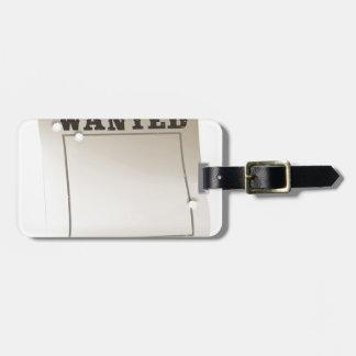 Wanted poster bag tag