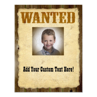 Wanted Poster Old-Time Photo Card