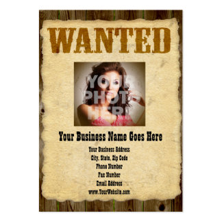 Wanted Poster Old-Time Photo Large Business Card