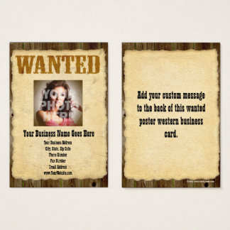 Wanted Poster Old-Time Photo Vintage Antique Business Card