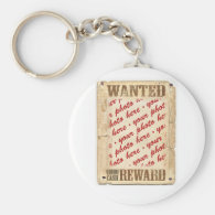 WANTED Poster Photo Frame Basic Round Button Keychain