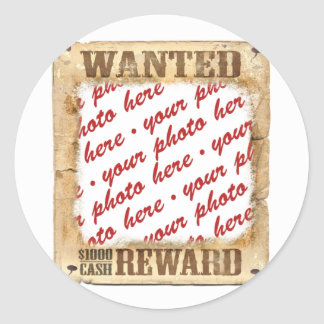 WANTED Poster Photo Frame Classic Round Sticker